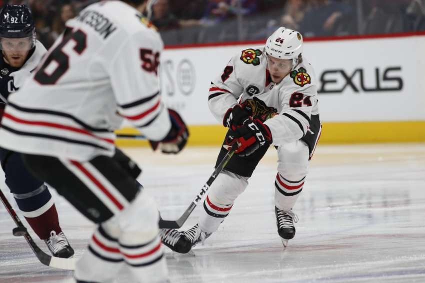 Dominik Kahun im Trikot seiner Chicago Blackhawks (picture alliance/AP Images)