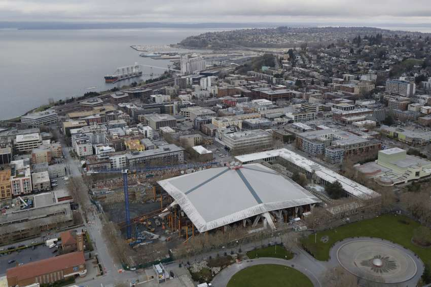 Die Baustelle der Climate Pledge Arena in Seattle.  (Foto: dpa/picture alliance/AP Photo)