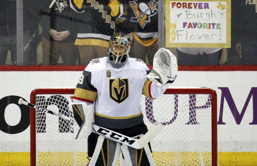 Immer noch ein Idol in Pittsburgh: Vegas-Goalie Marc-Andre Fleury. (picture alliance / AP Images)